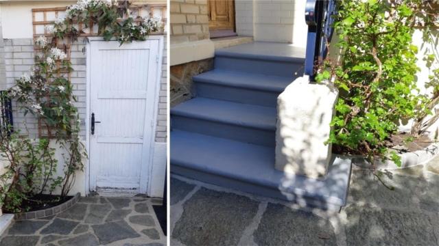 Cour entrée maison terrasse entretien et fleuri